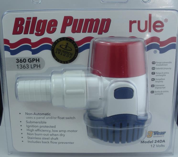 Boat 12 Volt Rule 360 GPH Submersible Marine Bilge Pump