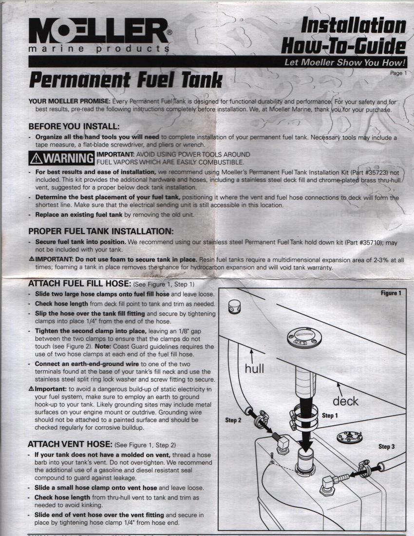 Moeller 32518 18 Gallon Below Deck Plastic Fuel Tank 11911