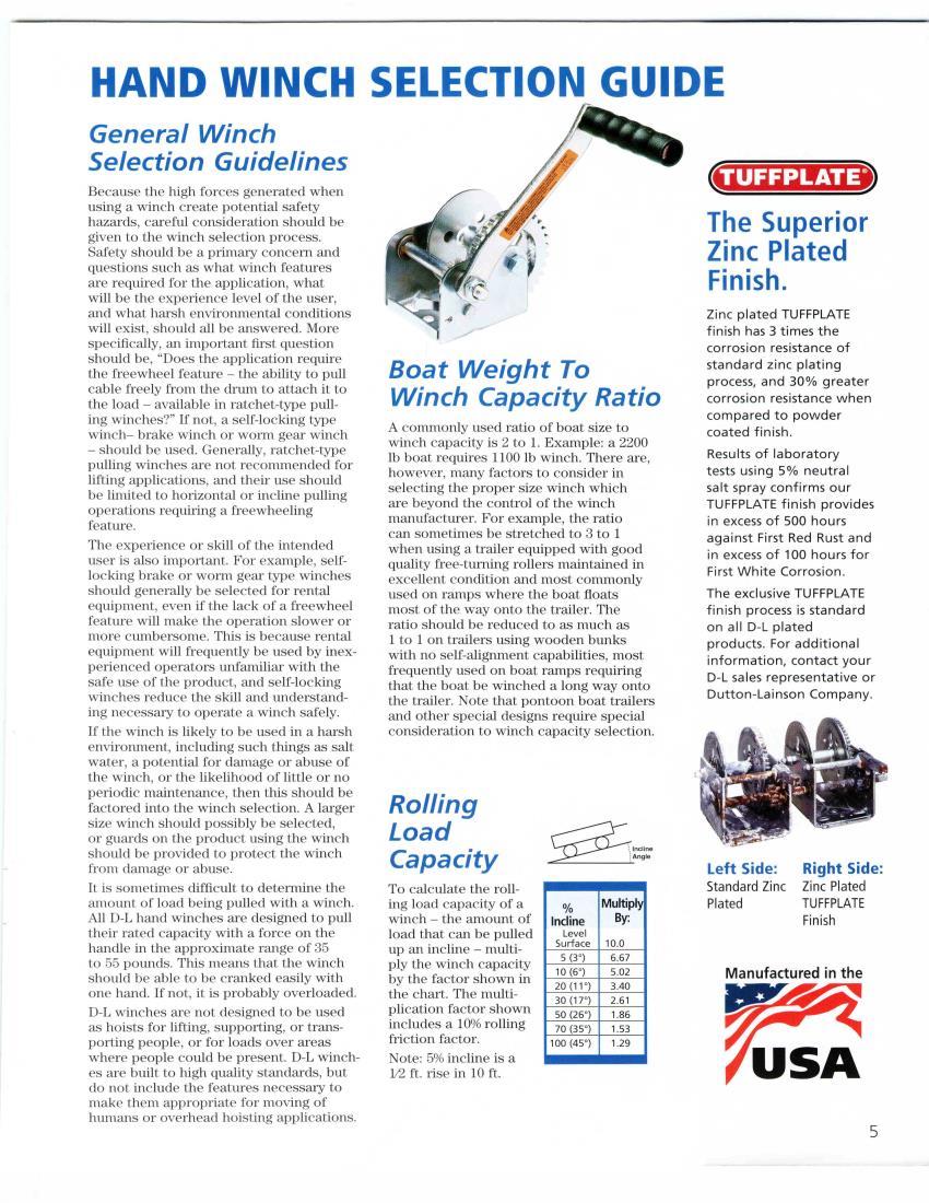 Dutton Lainson 15303 DL1402A  1400 Lb Trailer Winch Plated 7575