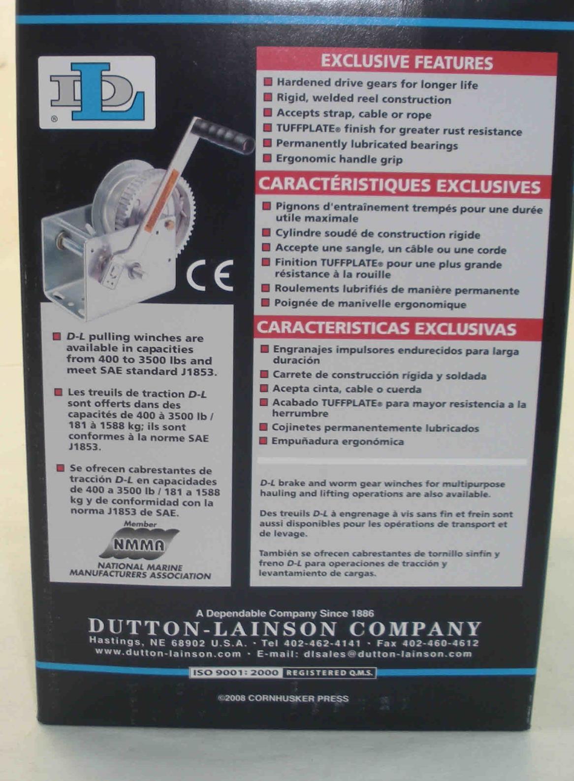 Dutton Lainson 14825 DL2500A Trailer Winch Plated 2500 lbs 7580