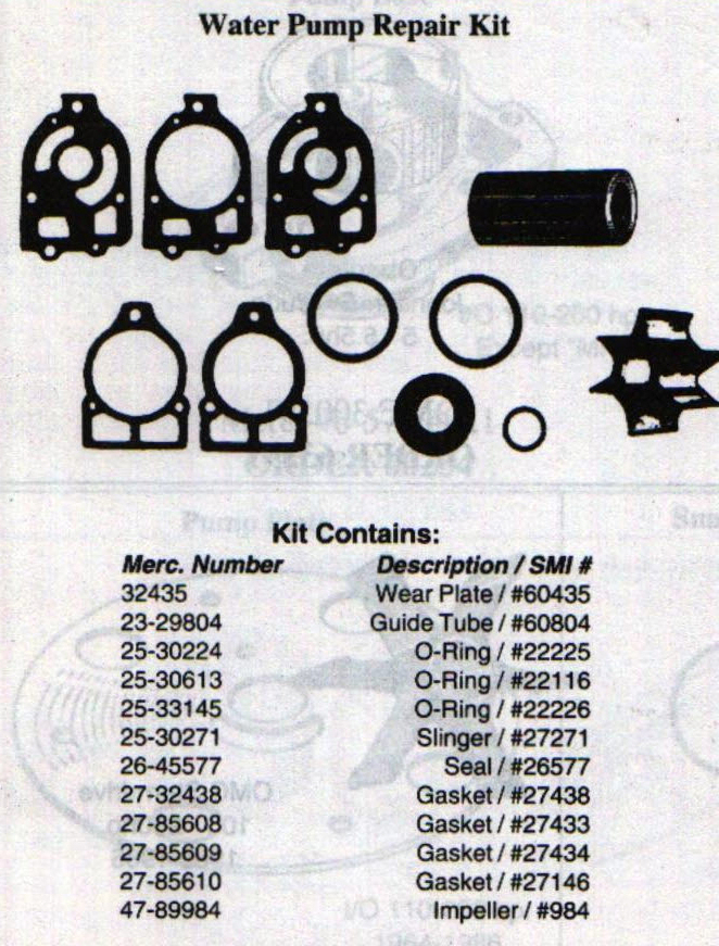 SMI 293 Mercury Water Pump Kit  Trimmed Version of Sierra 18-3217 20612