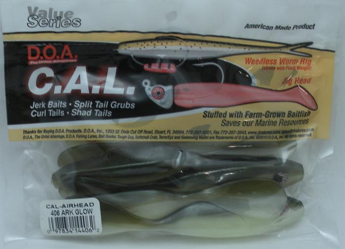 DOA 14-351 Cal Airhead Lure RBCHT RootBeer Chartreuse Tail 6CT 21020
