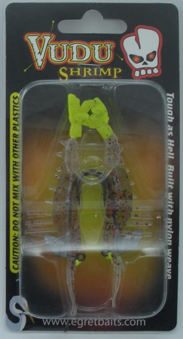 "Egret Baits E-VS35-14-30 3.25/"" Vudu crevette CAJUN PEPPER Chartreuse Tail 20660"