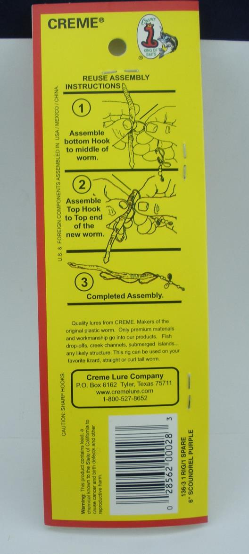 Creme 801-1 Angle Worm Live 1 Rig//1 Spare
