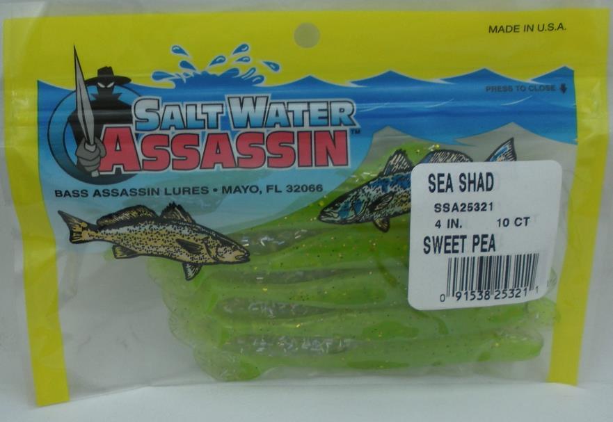 "Bass Assassin SSA25385 4/"" Sea Shad 10 Pk Opening Night 14985"