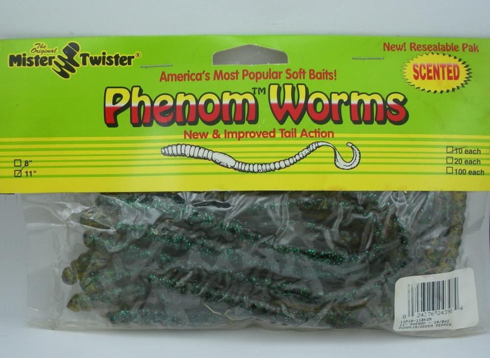 """Mister Twister 11P10-36 Phenom Worms 11/"""" Color Black Firetail 10CT 24031"""