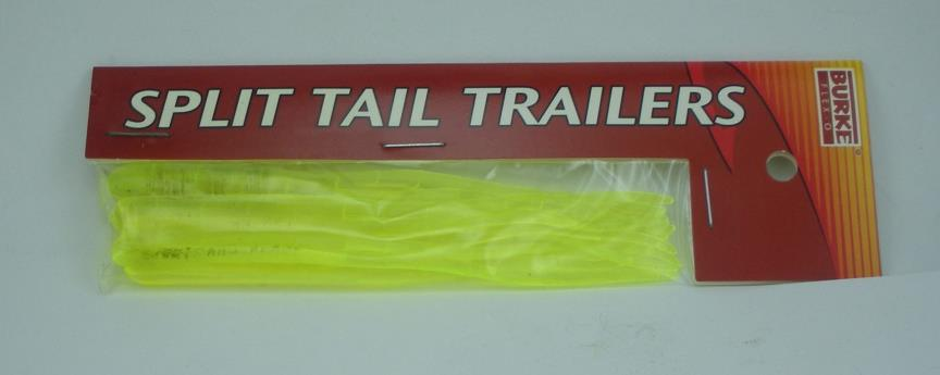 """Burke 770-05 Split Tail Trailer Worm Clear Chartreuse 4/"""" 6CT 23979"""