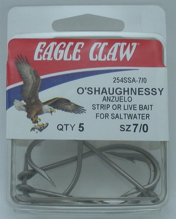 Eagle Claw 254SSA #5//0 8Ct Oshaughnessy Hooks Stainless Steel 7014