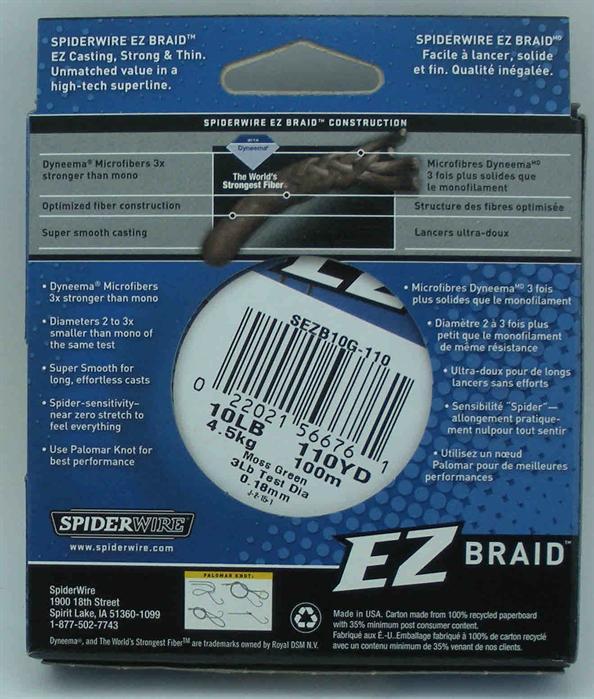 Spiderwire SEZB10G-110 Ez Braid Moss Green 10lb 110yd Fishing Line Spool