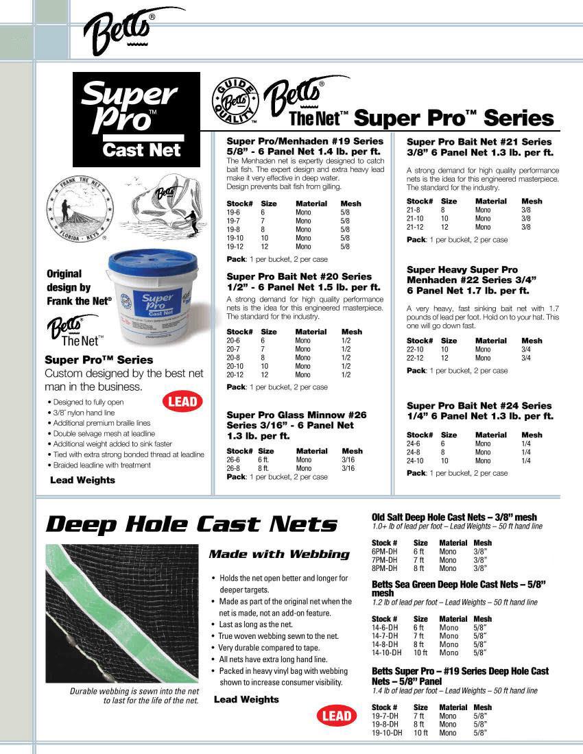 "Betts 19-8DH Deep Hole Super Pro Cast Net 8 Ft Radius x 5//8/"" Mesh 25708"