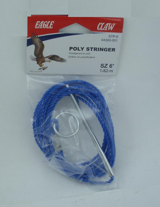 FOUR Packs Eagle Claw 6 Ft Poly Stringer for Smaller Fish #04300-001 Blue