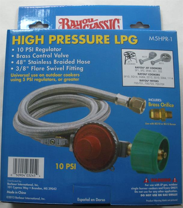 """Bayou Classic M5HPR-1 48/"""" S S Braid Hose and regulator assembly Cooker Fryer New"""