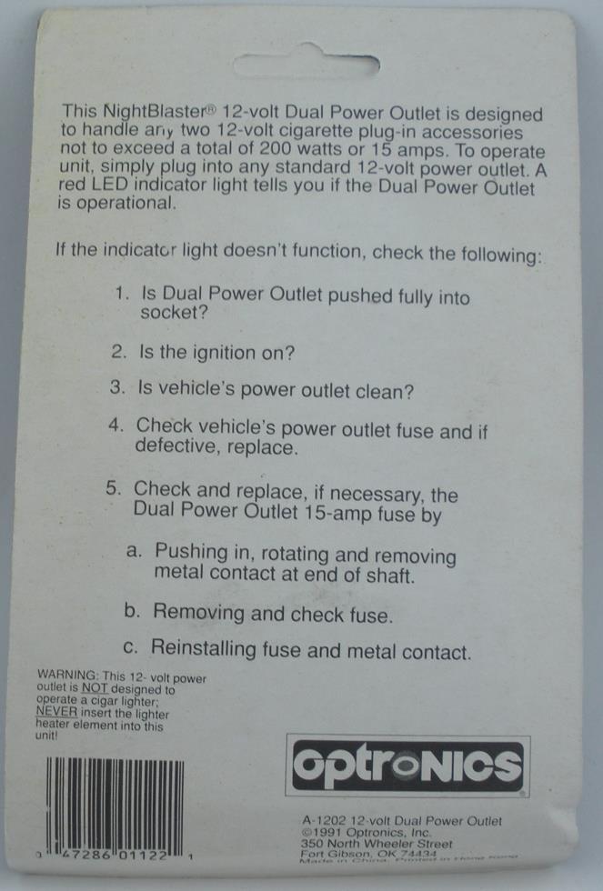 12 Volt Dual Power Outlet Optronics